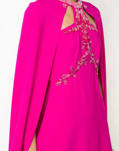 Load image into Gallery viewer, Beaded Embroidered Crepe Cape Gown