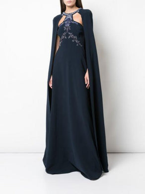 Beaded Embroidered Crepe Cape Gown