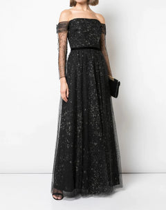 Load image into Gallery viewer, Off The Shoulder Glitter Tulle Gown