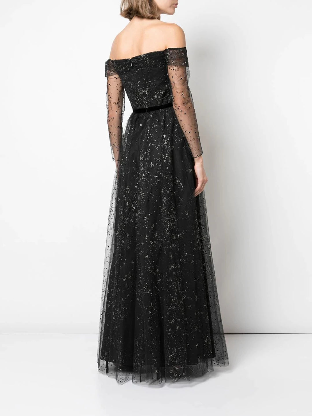 Off The Shoulder Glitter Tulle Gown