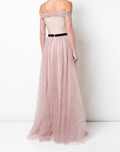 Load image into Gallery viewer, Long Sleeve Off The Shoulder Glitter Gown