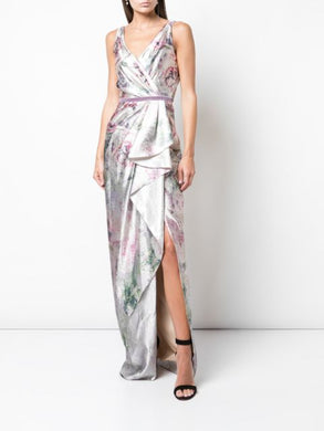 Slip V-neck Side Drape Metallic Gown
