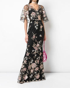 Load image into Gallery viewer, Cape Sleeve Floral Embroidered Mermaid Gown