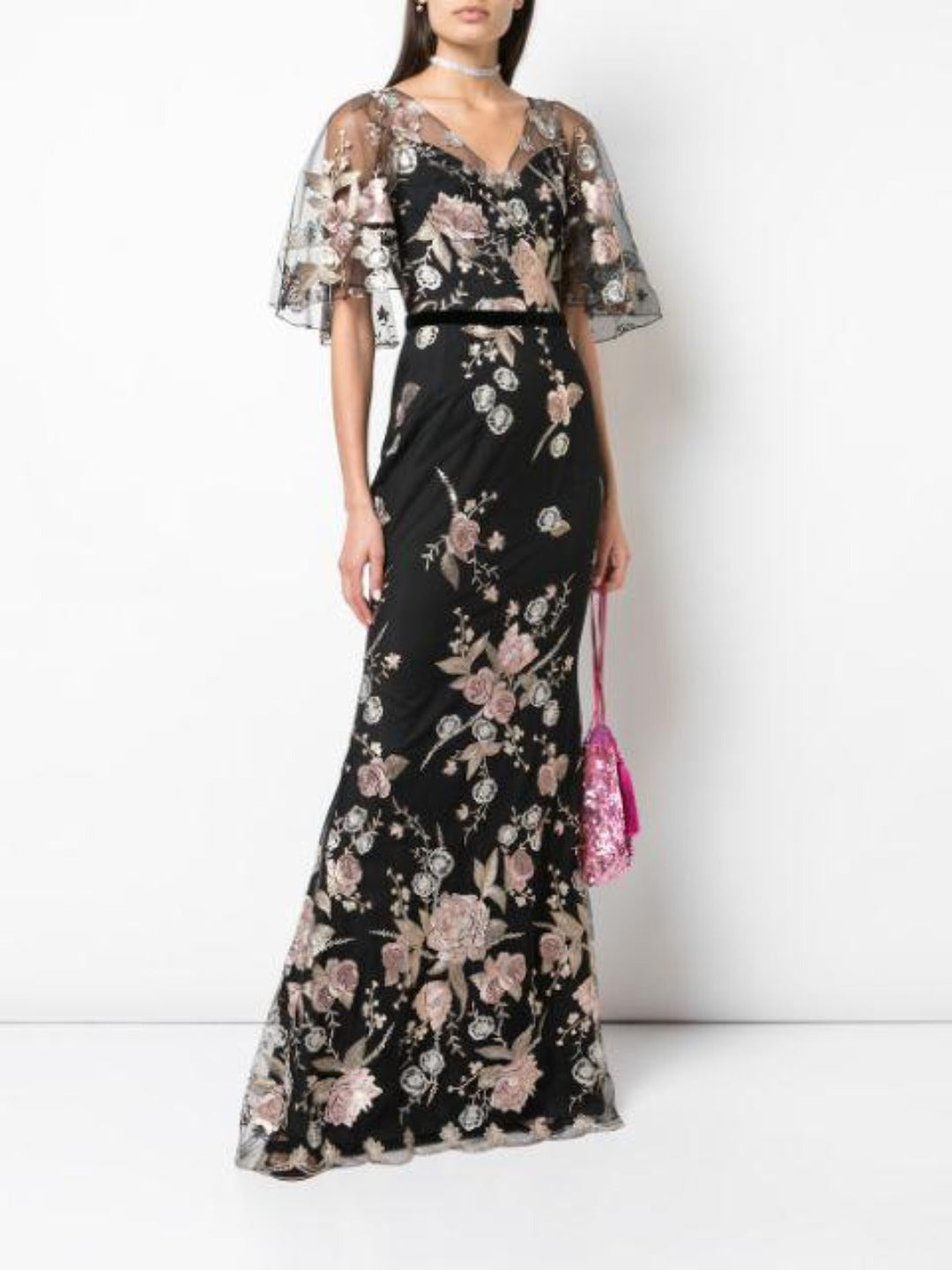 Cape Sleeve Floral Embroidered Mermaid Gown