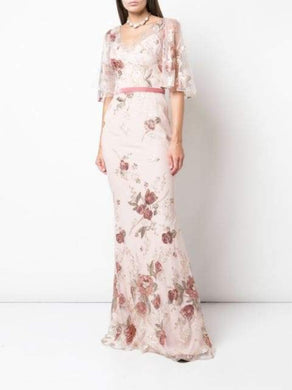 Cape Sleeve Floral Embroidered Mermaid Gown in Blush