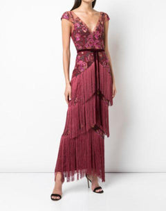 Load image into Gallery viewer, Fringe Gown in Wine