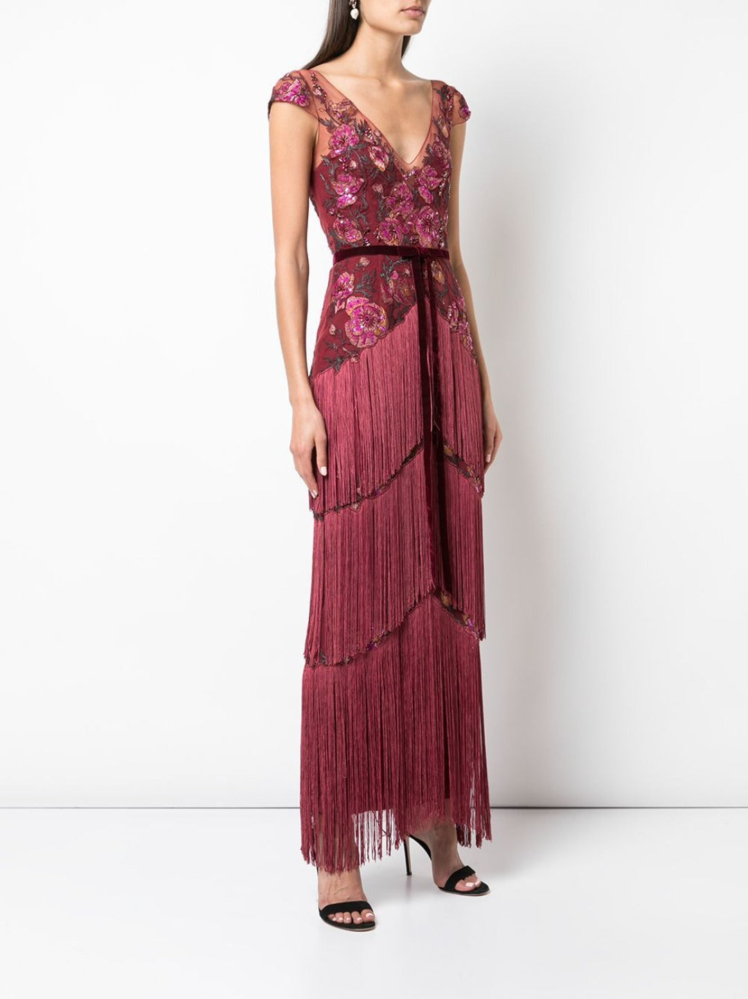 Fringe Gown in Wine