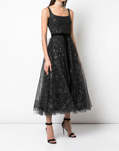 Load image into Gallery viewer, Sleeveless Glitter Tulle Tea Length Gown