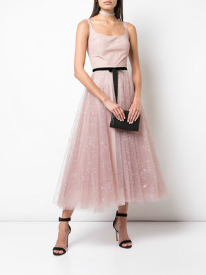 Sleeveless Glitter Tulle Tea Length Gown in Blush