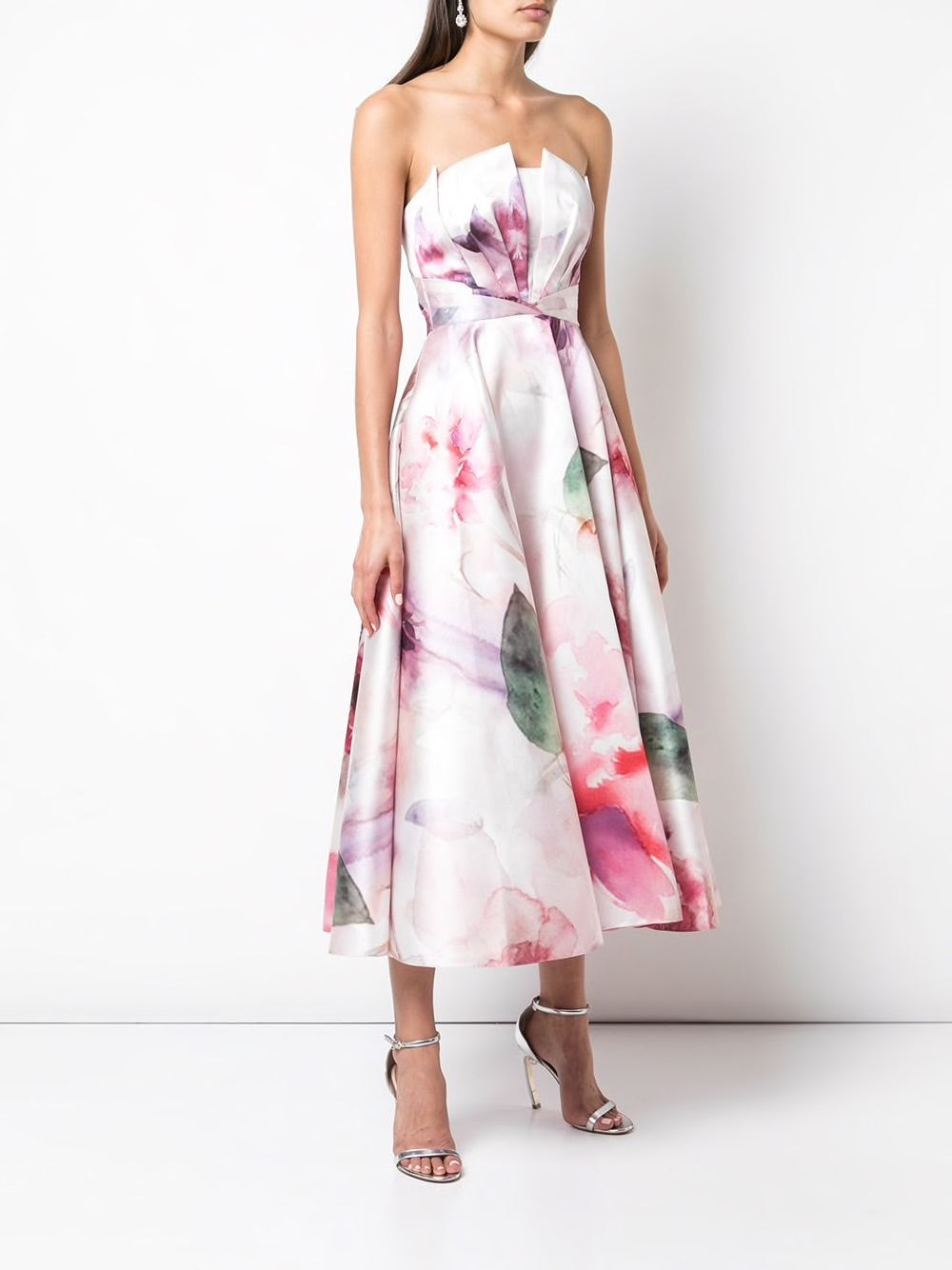 Strapless Draped Printed Mikado Pique Tea Length