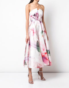 Load image into Gallery viewer, Strapless Draped Printed Mikado Pique Tea Length