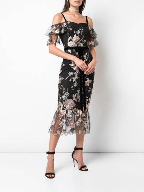 Off The Shoulder Metallic Floral Tea Length