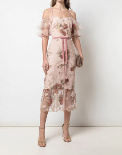 Load image into Gallery viewer, Floral Embroidered Cocktail Dress