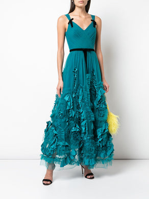 Sleeveless Textured V-Neck Tea Length Gown