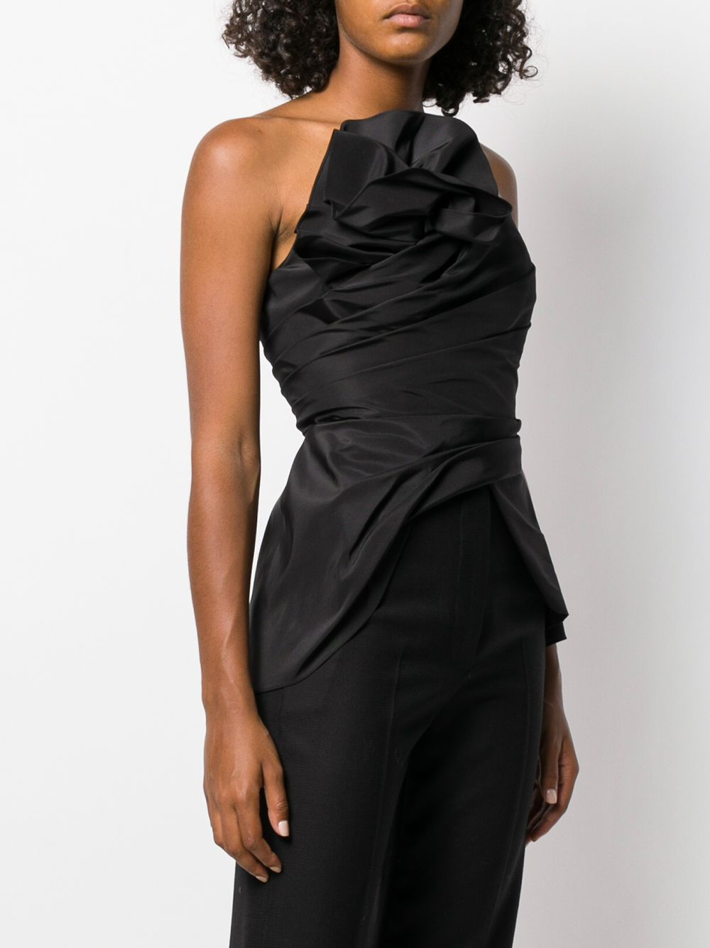 Strapless Faille Top With Asymmetrical Draped Bodice