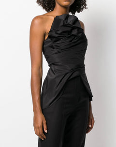 Load image into Gallery viewer, Strapless Faille Top With Asymmetrical Draped Bodice