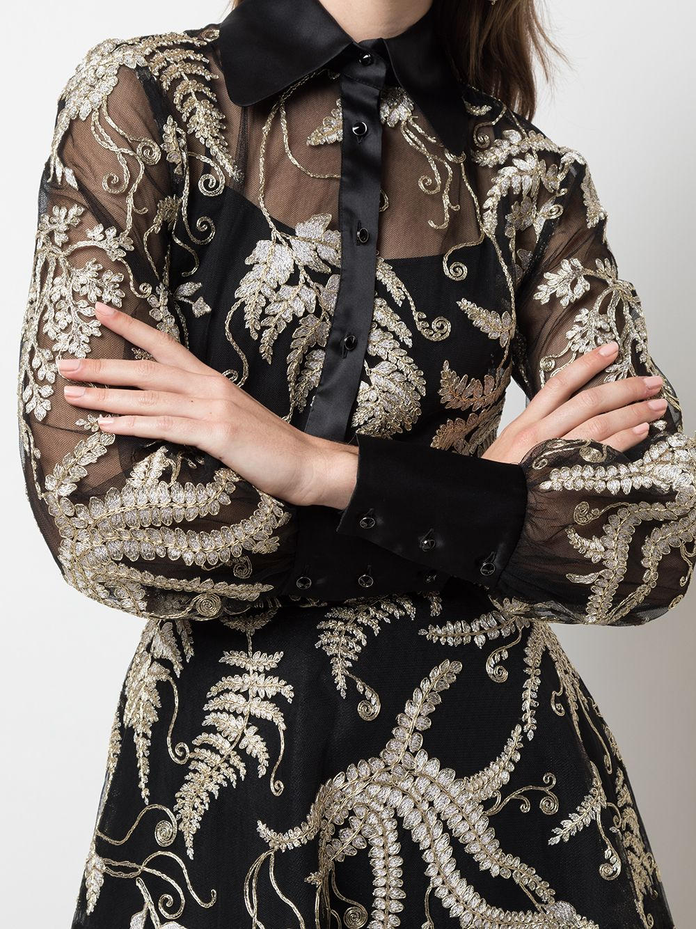 Black And Metallic Corded Fern Lace Blouse