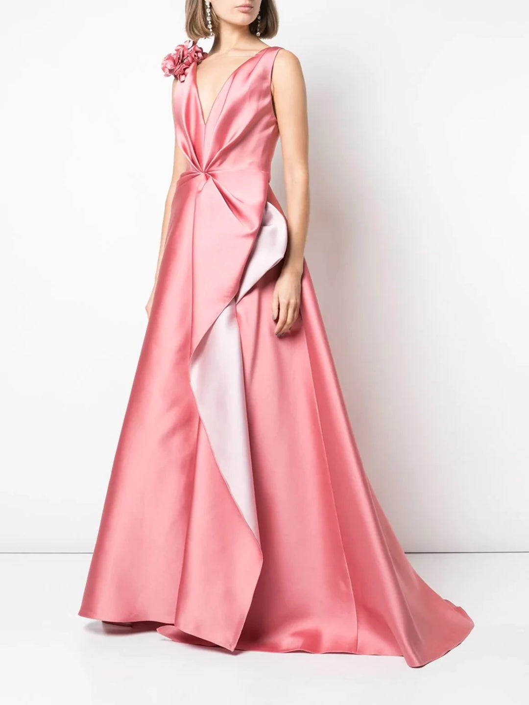 Plunging V-Neckline Gown With 3D Petals
