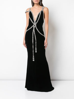Embroidered Velvet Gown