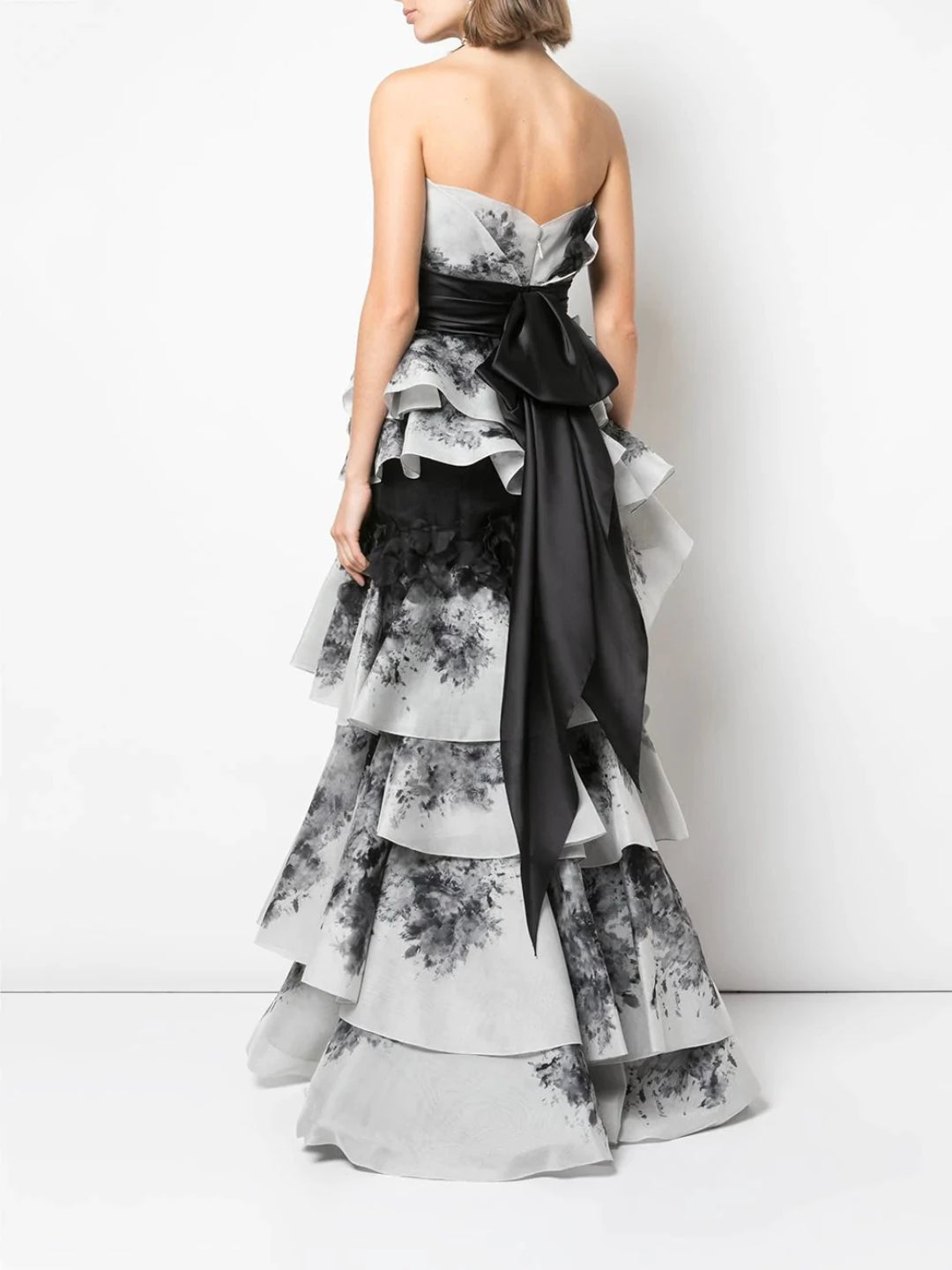 Strapless Tiered Gown With Sash