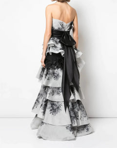 Load image into Gallery viewer, Strapless Tiered Gown With Sash