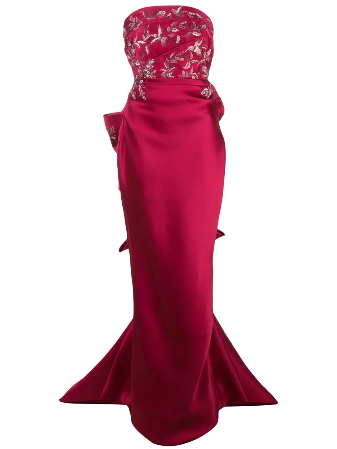 Strapless Embroidered Gown With Bow Detail