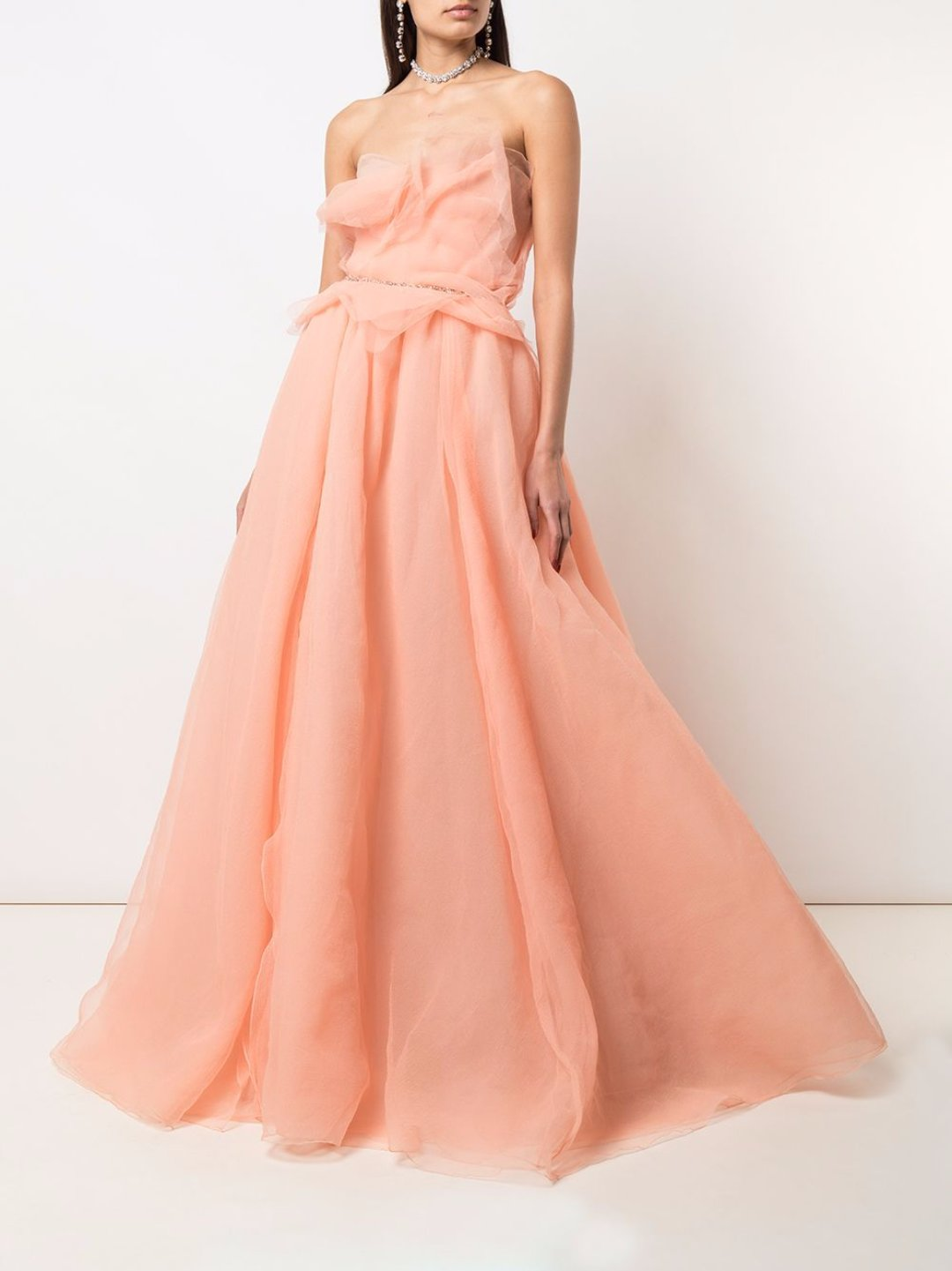 Strapless Textured Bodice Gown