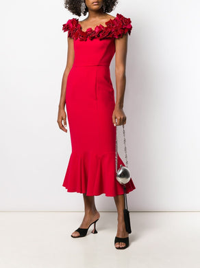 Off-the-Shoulder Flounce Cocktail Dress