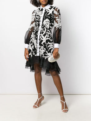 BLACK WHITE LACE SHIRT DRESS WITH FLOUNCE