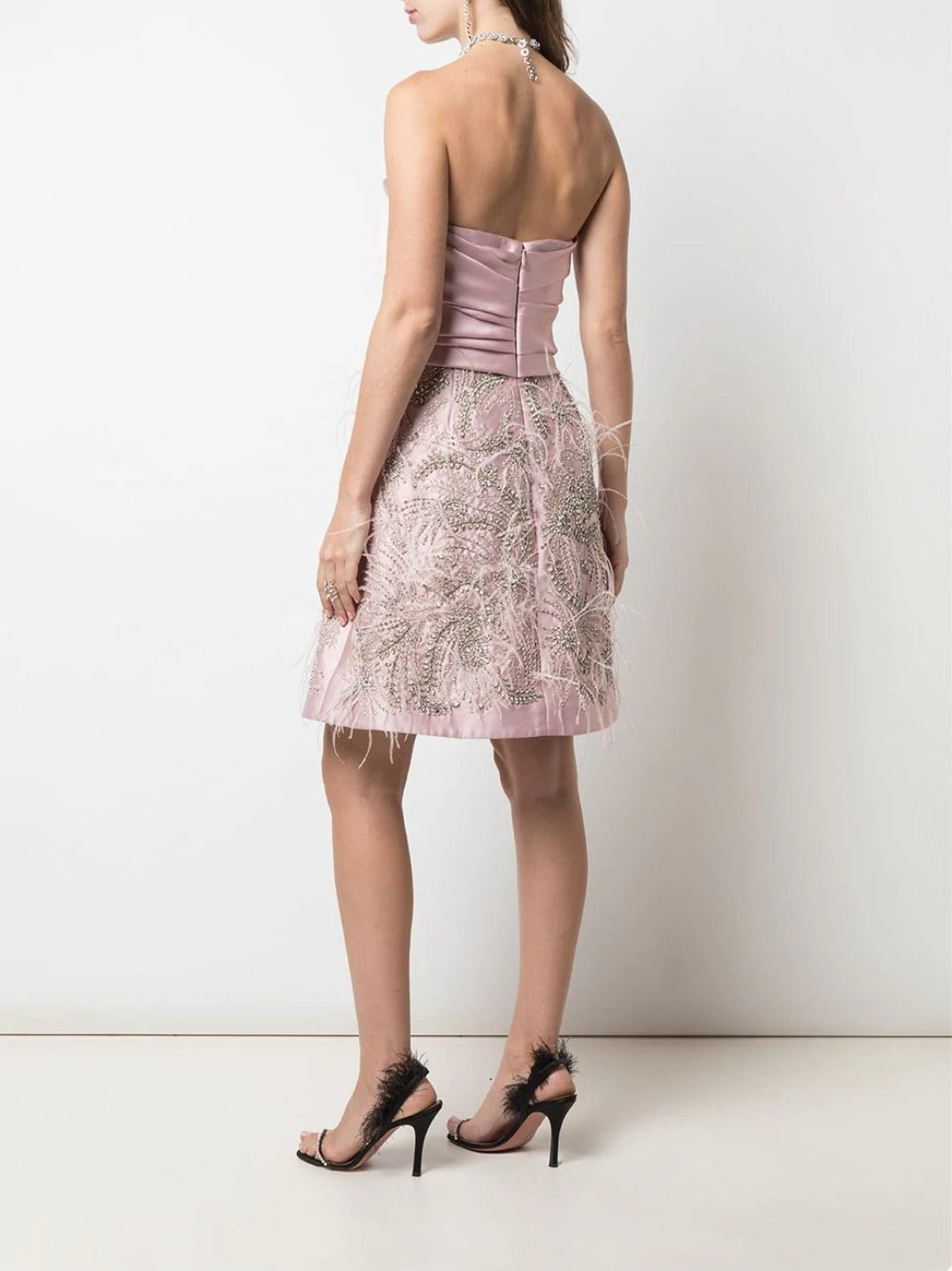 Strapless Draped Neckline Mini Cocktail Dress