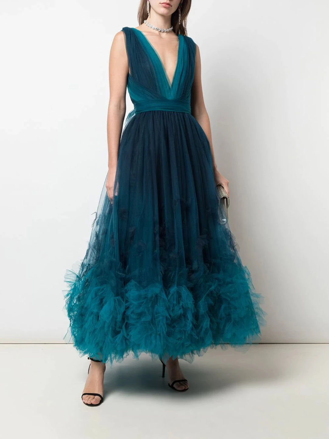 Deep V-Neckline Ombre Textured Cocktail Dress