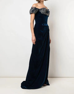 Load image into Gallery viewer, Off The Shoulder Velvet Gown