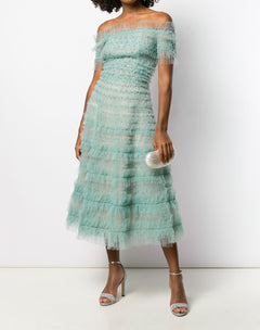Load image into Gallery viewer, Off shoulder A-line cocktail with sequin and tulle