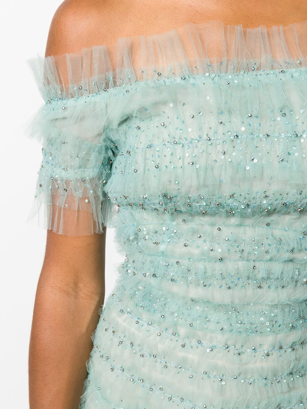 Off shoulder A-line cocktail with sequin and tulle