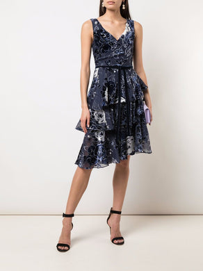 Print Asymmetric Cocktail Dress