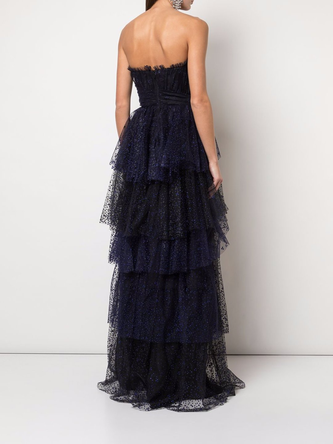 Flocked Glitter Tulle Tiered Gown