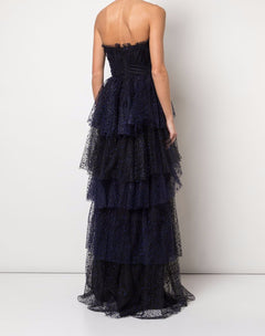 Load image into Gallery viewer, Flocked Glitter Tulle Tiered Gown