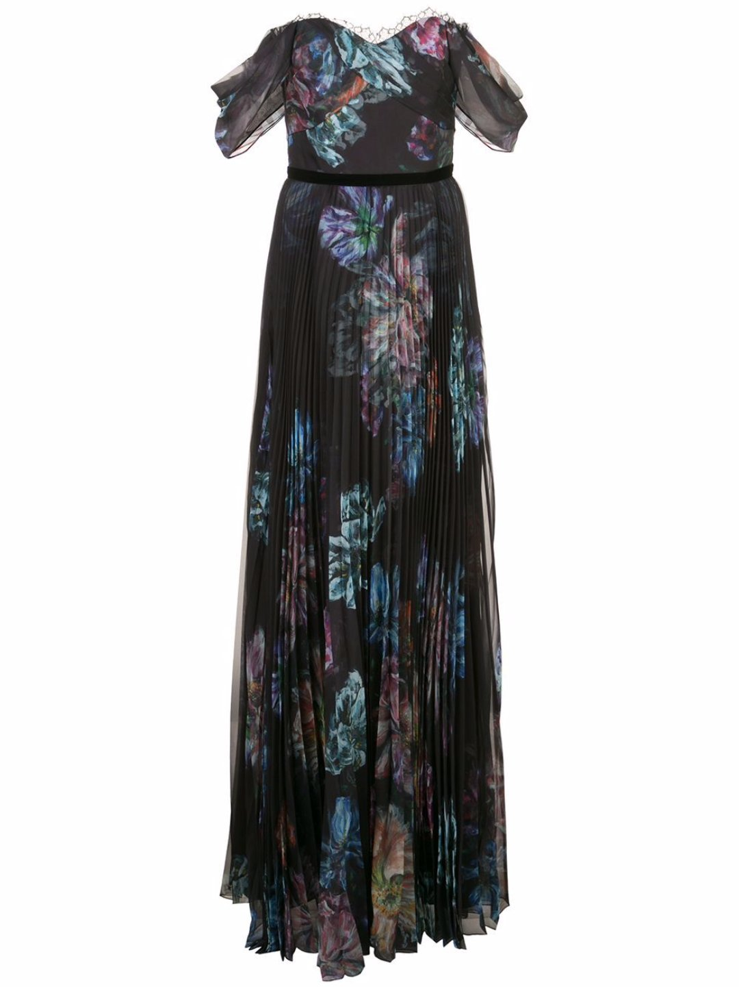 Draped Sleeve Printed Chiffon Gown