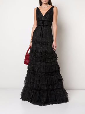 Ruffle Tiered Glitter Texture Gown