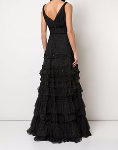 Load image into Gallery viewer, Ruffle Tiered Glitter Texture Gown