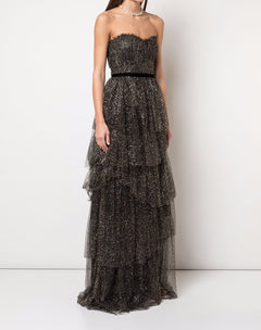 Load image into Gallery viewer, Glitter Tulle Tiered Gown