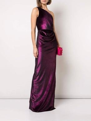 Draped metallic lame gown