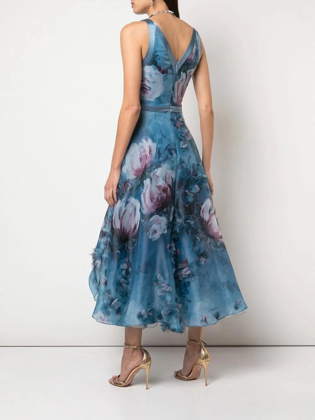 V-Neck 3D Floral Print Tea Length Dress