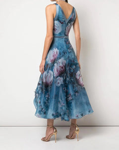 Load image into Gallery viewer, V-Neck 3D Floral Print Tea Length Dress