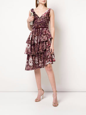 Floral Print Asymmetric Cocktail Dress