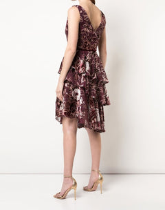 Load image into Gallery viewer, Floral print asymmetric cocktail dress