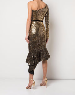 Load image into Gallery viewer, Glitter Ruffle Asymmetric Cocktail Dress