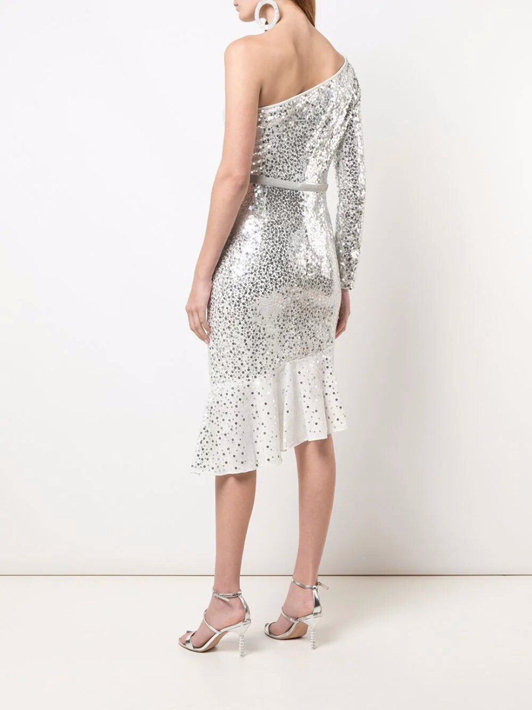 Glitter Ruffle Asymmetric Cocktail Dress
