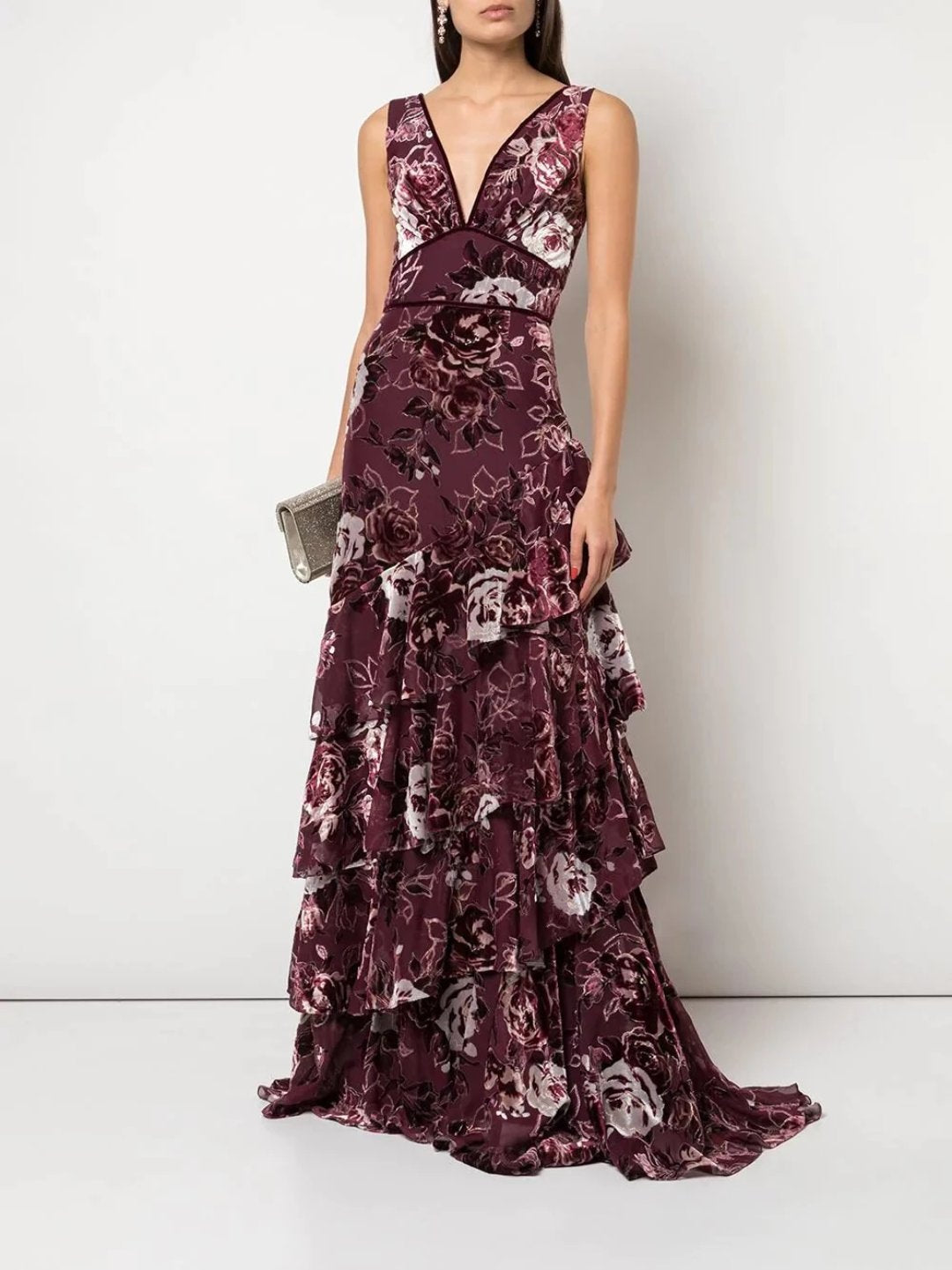 V-Tiered Burnout Gown