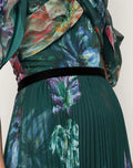 Load image into Gallery viewer, Draped Sleeve Printed Chiffon Gown